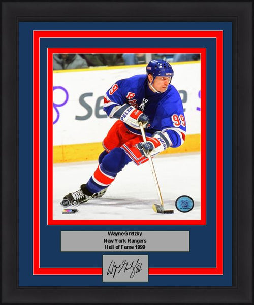 "Wayne Gretzky New York Rangers NHL Hockey 8"" x 10"" Framed and Matted Photo with Engraved Autograph"
