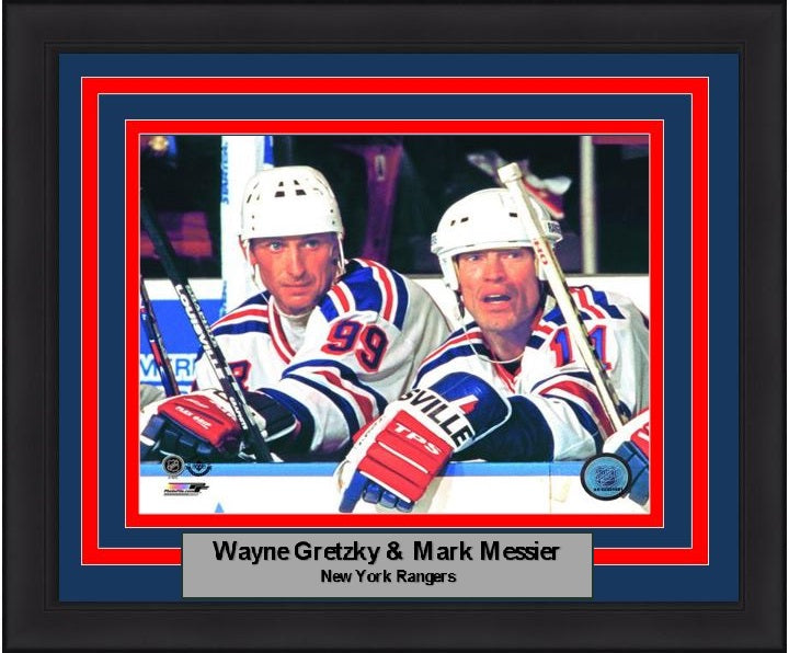 "New York Rangers Wayne Gretzky & Mark Messier NHL Hockey 8"" x 10"" Framed and Matted Photo - Dynasty Sports & Framing"