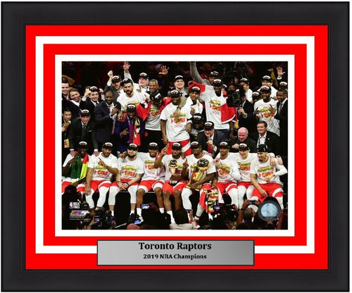 "Toronto Raptors 2019 NBA Champions On-Court Celebration NBA Basketball 8"" x 10"" Framed and Matted Photo"