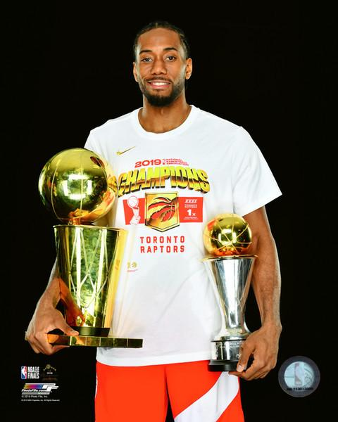 Kawhi Leonard Toronto Raptors 2019 NBA Champions Finals Trophy & MVP Trophy 8x10 Basketball Photo - Dynasty Sports & Framing