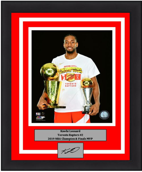 "Kawhi Leonard Toronto Raptors 2019 NBA Champions Finals Trophy & MVP Trophy Basketball 8"" x 10"" Framed and Matted Photo with Engraved Autograph"