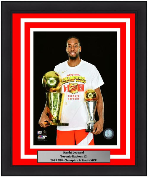 "Kawhi Leonard Toronto Raptors 2019 NBA Champions Finals Trophy & MVP Trophy Basketball 8"" x 10"" Framed and Matted Photo"