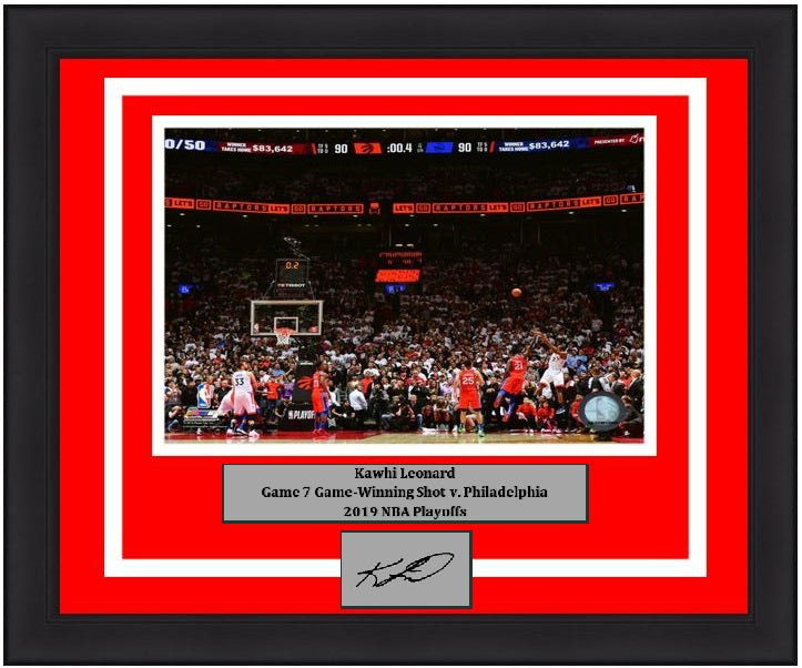 "Kawhi Leonard Toronto Raptors Game 7 Game-Winning Shot v. 76ers NBA Basketball 8"" x 10"" Framed and Matted 2019 Playoffs Photo with Engraved Autograph"