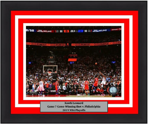 "Kawhi Leonard Toronto Raptors Game 7 Game-Winning Shot v. 76ers NBA Basketball 8"" x 10"" Framed and Matted 2019 Playoffs Photo"