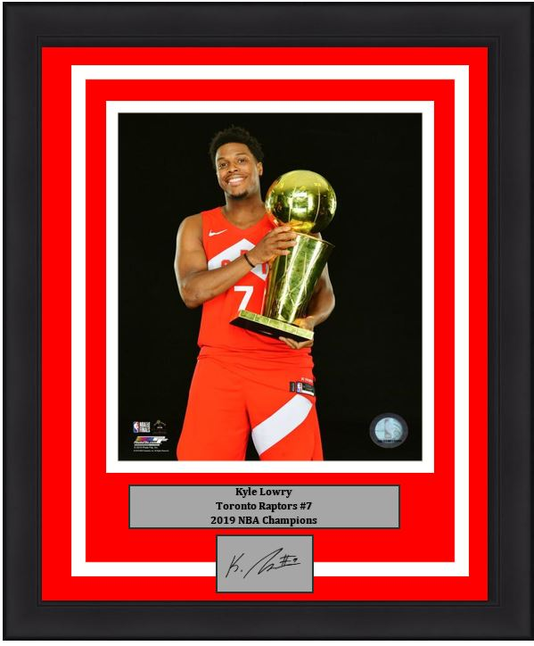 "Kyle Lowry Toronto Raptors 2019 NBA Champions Championship Trophy Basketball 8"" x 10"" Framed and Matted Photo with Engraved Autograph"