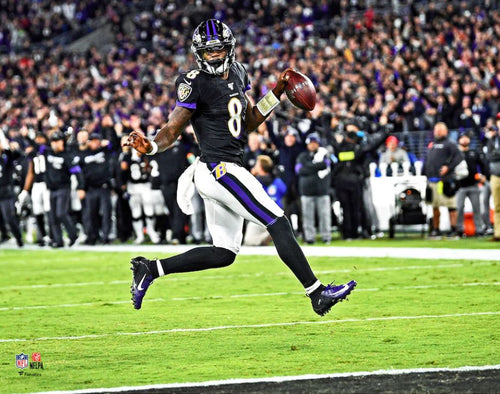 "Lamar Jackson High-Stepping Touchdown Baltimore Ravens 8"" x 10"" Football Photo - Dynasty Sports & Framing"