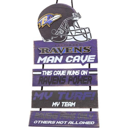 Baltimore Ravens NFL Football Wooden Helmet Man Cave Dangle Sign - Dynasty Sports & Framing