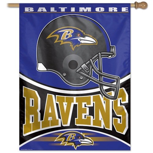 Baltimore Ravens NFL Logo Football Vertical Flag - Dynasty Sports & Framing
