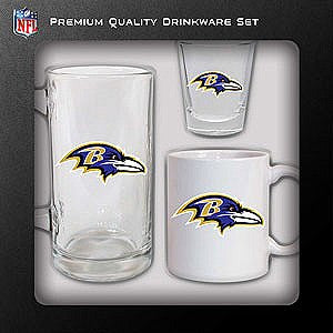 Baltimore Ravens NFL Football 3-Piece Glassware Gift Set - Dynasty Sports & Framing