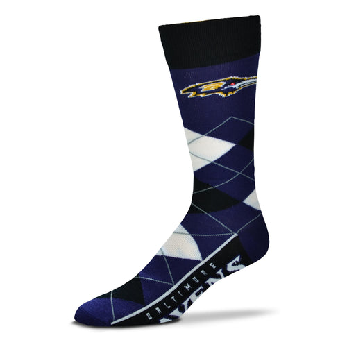 Baltimore Ravens Men's NFL Football Argyle Lineup Socks - Dynasty Sports & Framing