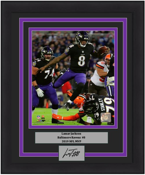 "Lamar Jackson Baltimore Ravens NFL Football 8"" x 10"" Framed and Matted Photo with Engraved Autograph - Dynasty Sports & Framing"