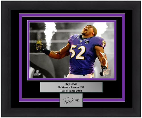 "Ray Lewis Baltimore Ravens Spotlight NFL Football 8"" x 10"" Framed & Matted Photo with Engraved Autograph"