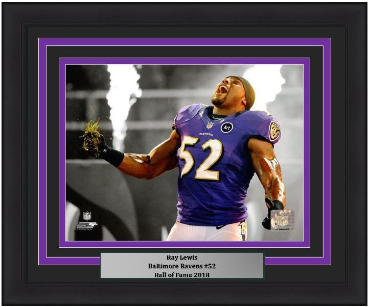 "Baltimore Ravens Ray Lewis Spotlight NFL Football 8"" x 10"" Framed and Matted Photo"