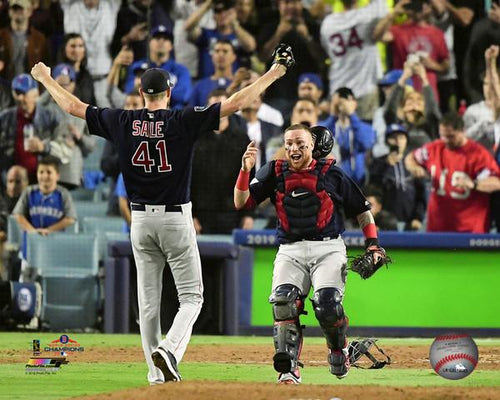 "Chris Sale & Christian Vazquez Boston Red Sox 2018 World Series Champions Final Out MLB Baseball 8"" x 10"" Photo"