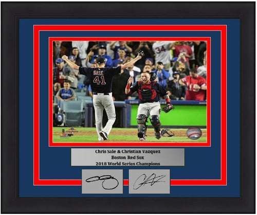 "Boston Red Sox 2018 World Series Champions Chris Sale & Christian Vazquez Final Out Engraved Autographs MLB Baseball 8"" x 10"" Framed and Matted Photo (Dynasty Signature Collection)"