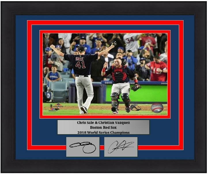 more photos c1211 86353 Chris Sale & Christian Vazquez Boston Red Sox 2018 World Series Champions  Final Out MLB Baseball 8