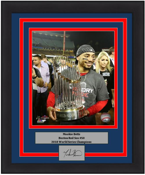 "Boston Red Sox 2018 World Series Champions Mookie Betts Trophy Engraved Autograph MLB Baseball 8"" x 10"" Framed and Matted Photo (Dynasty Signature Collection)"