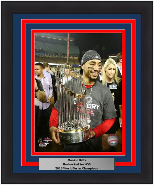 "Boston Red Sox 2018 World Series Champions Mookie Betts Trophy MLB Baseball 8"" x 10"" Framed and Matted Photo"