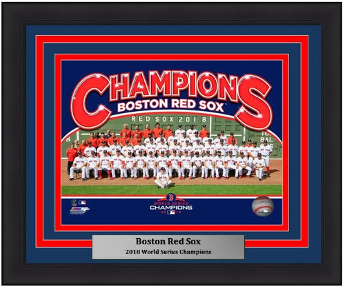 "Boston Red Sox 2018 World Series Champions Team Line-Up MLB Baseball 8"" x 10"" Framed and Matted Photo"