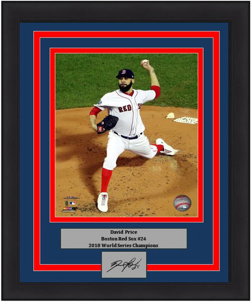 "David Price Boston Red Sox 2018 World Series MLB Baseball 8"" x 10"" Framed and Matted Photo with Engraved Autograph - Dynasty Sports & Framing"