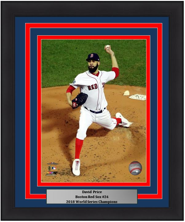 "Boston Red Sox 2018 World Series David Price MLB Baseball 8"" x 10"" Framed and Matted Photo"
