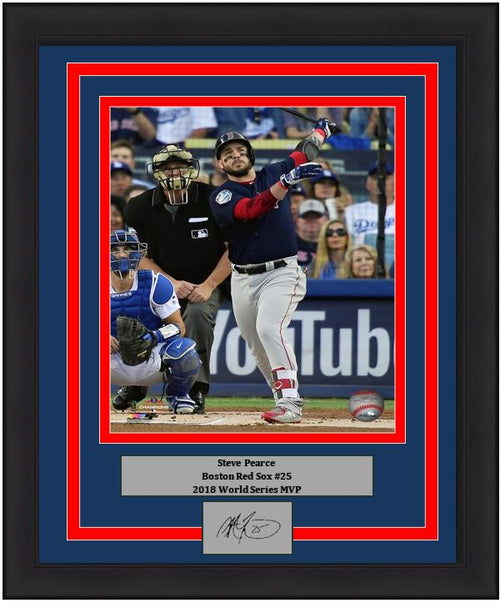 "Steve Pearce Boston Red Sox 2018 World Series MLB Baseball 8"" x 10"" Framed and Matted Photo with Engraved Autograph - Dynasty Sports & Framing"