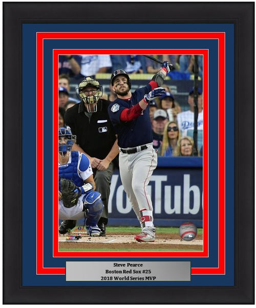"Steve Pearce Boston Red Sox 2018 World Series Game 5 Home Run MLB Baseball 8"" x 10"" Framed and Matted Photo"