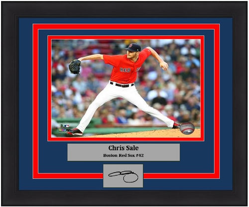 "Chris Sale Boston Red Sox MLB Baseball 8"" x 10"" Framed and Matted Photo with Engraved Autograph"