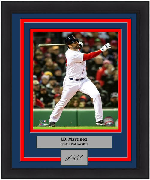 "J.D. Martinez Boston Red Sox MLB Baseball 8"" x 10"" Framed and Matted Photo with Engraved Autograph"