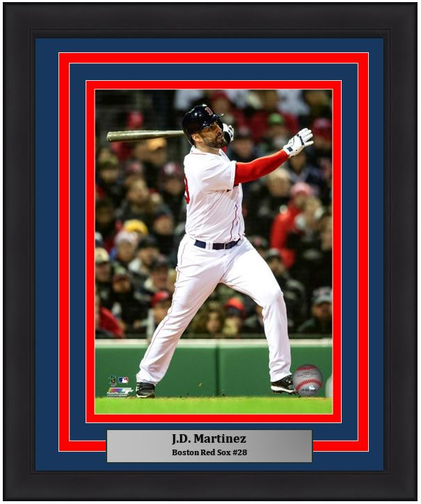 "Boston Red Sox J.D. Martinez MLB Baseball 8"" x 10"" Framed and Matted Photo"