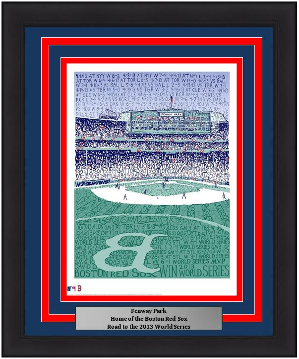 "Boston Red Sox Fenway Park Road to the 2013 World Series MLB Baseball 16"" x 20"" Framed and Matted Word-Art Photo"