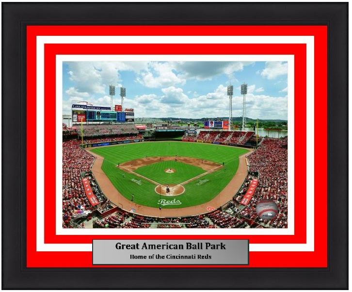"Cincinnati Reds Great American Ball Park Stadium MLB Baseball 8"" x 10"" Framed and Matted Photo"