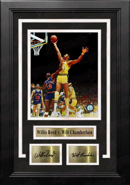 "Wilt Chamberlain v. Willis Reed 8"" x 10"" Framed Basketball Photo with Engraved Autographs - Dynasty Sports & Framing"