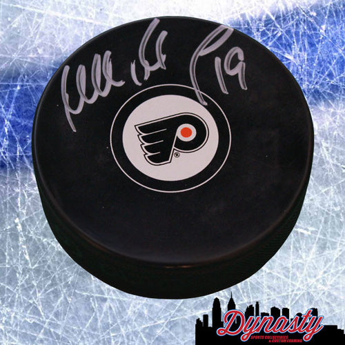 Philadelphia Flyers Mikael Renberg Autographed NHL Hockey Logo Puck - Dynasty Sports & Framing