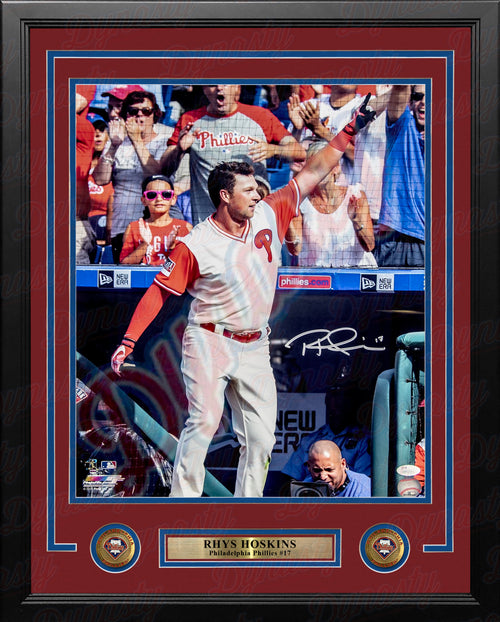 "Rhys Hoskins Philadelphia Phillies Crowd Wave Autographed MLB Baseball 16"" x 20"" Framed Photo - Dynasty Sports & Framing"