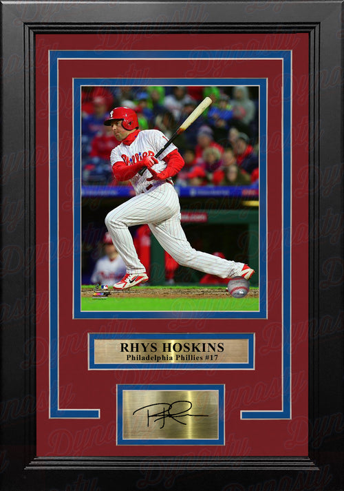 Rhys Hoskins Philadelphia Phillies Swing & Run 8x10 Framed Baseball Photo with Engraved Autograph - Dynasty Sports & Framing