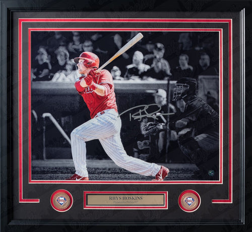 Rhys Hoskins Blackout Autographed Philadelphia Phillies Framed Baseball Photo - Dynasty Sports & Framing