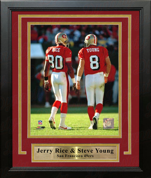 "Jerry Rice & Steve Young San Francisco 49ers 8"" x 10"" Framed and Matted Photo - Dynasty Sports & Framing"