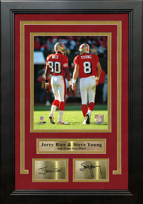 "Jerry Rice & Steve Young San Francisco 49ers 8"" x 10"" Framed Photo with Engraved Autographs - Dynasty Sports & Framing"
