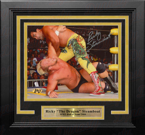 "Ricky ""The Dragon"" Steamboat v. Steve Austin Autographed 8"" x 10"" Framed WWE Wrestling Photo - Dynasty Sports & Framing"