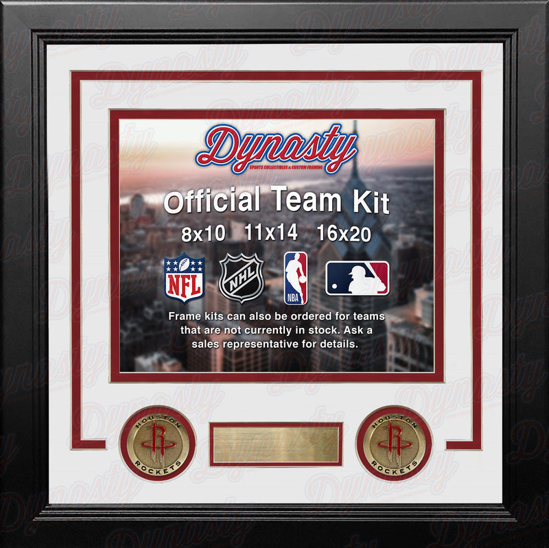 NBA Basketball Photo Picture Frame Kit - Houston Rockets (White Matting, Red Trim) - Dynasty Sports & Framing
