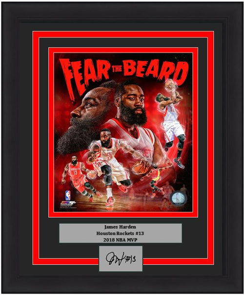Houston Rockets James Harden Engraved Autograph NBA Basketball Framed & Matted Photo (Dynasty Signature Collection)
