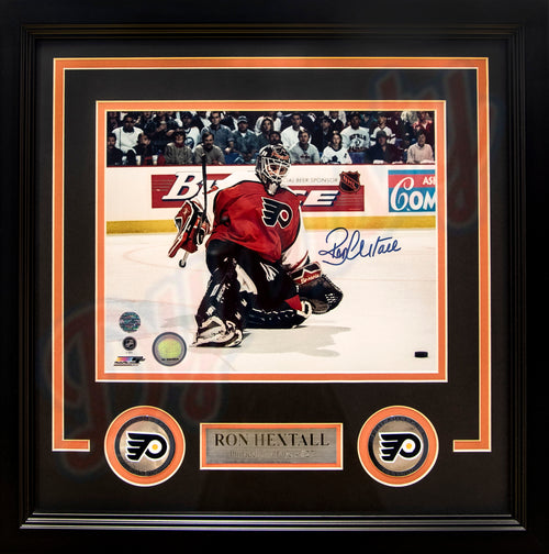 "Philadelphia Flyers Ron Hextall Kick Save Autographed NHL Hockey 8"" x 10"" Framed and Matted Photo"