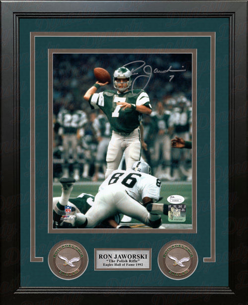 "Ron Jaworski Super Bowl XV Dropback Philadelphia Eagles Autographed 8"" x 10"" Framed Photo - Dynasty Sports & Framing"