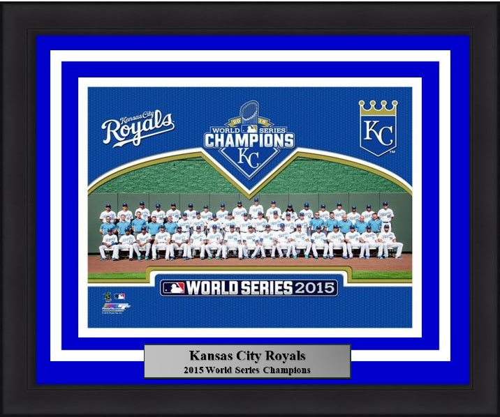 "Kansas City Royals 2015 World Series Team Line-Up MLB Baseball 8"" x 10"" Framed and Matted Photo - Dynasty Sports & Framing"