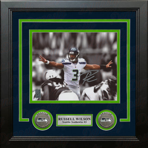 "Russell Wilson Spotlight Autographed Seattle Seahawks 8"" x 10"" Framed Football Photo - Dynasty Sports & Framing"