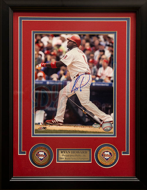 "Philadelphia Phillies Ryan Howard Watches it Fly Autographed MLB Baseball 8"" x 10"" Framed and Matted Photo"