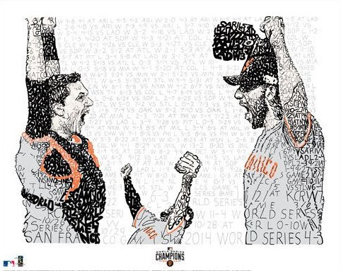 "San Francisco Giants Madison Bumgarner, Pablo Sandoval, & Buster Posey 2014 World Series Daniel Duffy Word Art 16"" x 20"" Photo - Dynasty Sports & Framing"