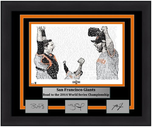 San Francisco Giants Madison Bumgarner, Pablo Sandoval, & Buster Posey 2014 World Series Daniel Duffy Word Art Engraved Autograph MLB Baseball 16x20 Framed Photo (Dynasty Signature Collection) - Dynasty Sports & Framing