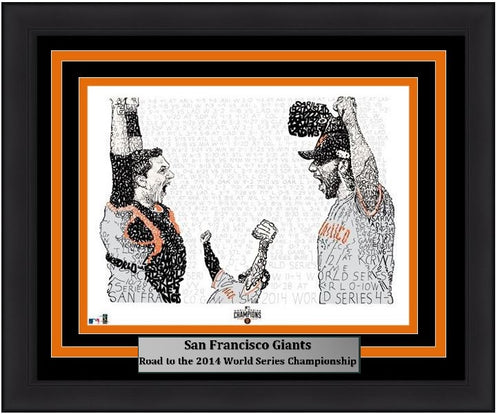 "San Francisco Giants Madison Bumgarner, Pablo Sandoval, & Buster Posey 2014 World Series Daniel Duffy Word Art 16"" x 20"" Framed and Matted Photo - Dynasty Sports & Framing"